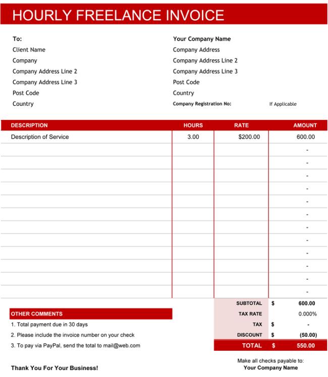 freelance invoice template uk excel – neverage, Simple invoice