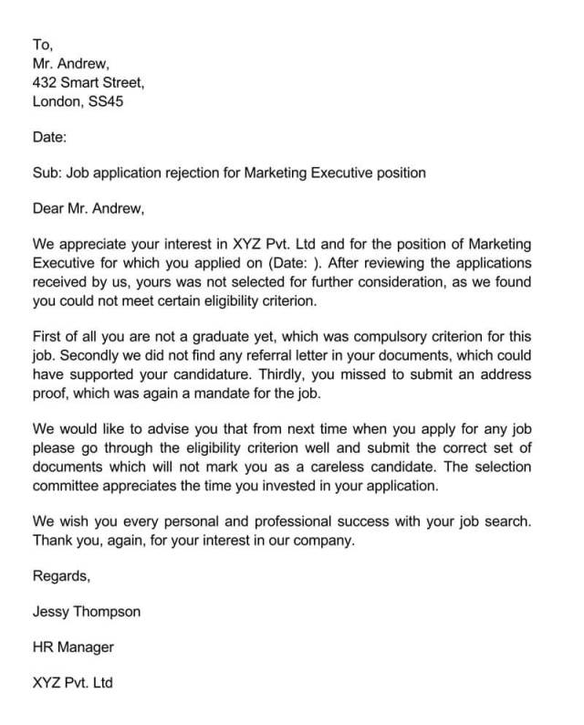 Job Candidate Rejection Letter (28+ Sample Letters & Templates)