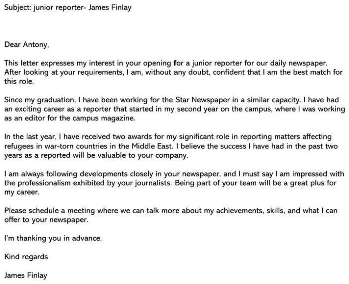 Best Journalism Cover Letter Sample Email Example