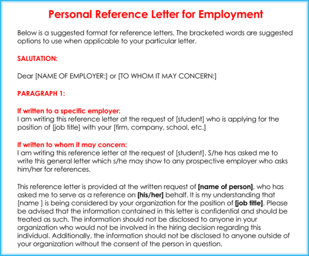 Sample Personal Character Reference Letter For Employment ...