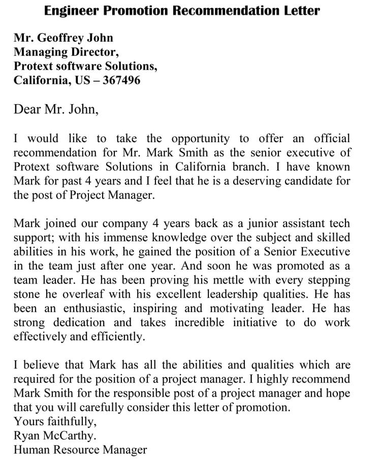 Promotion Recommendation Letter 20 Sample Letters And Templates