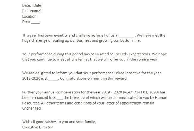 asking for raise letter