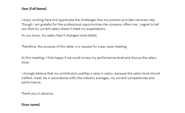 how to ask for a salary raise letter – Employee Raise Letter