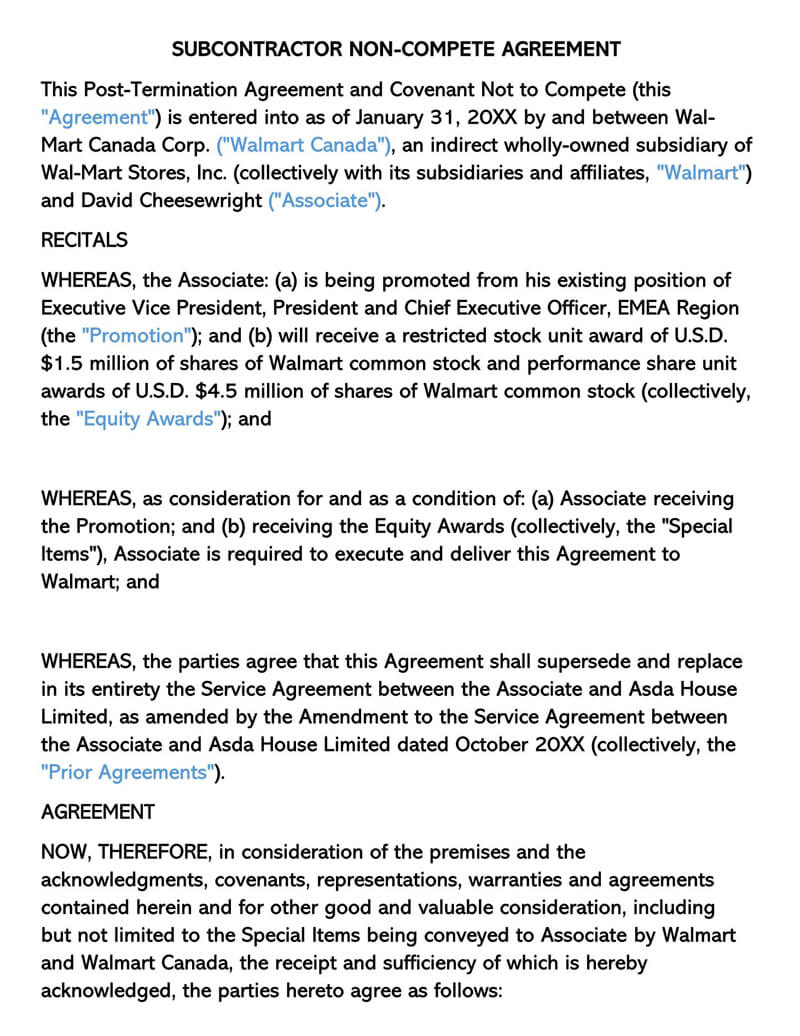 Free Non Compete Agreement Templates Employee Contractor