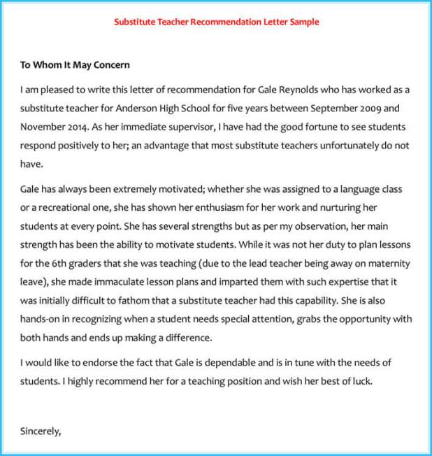 best Recommendation Letter For Substitute Teacher Position image ...