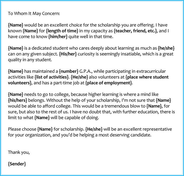 personal letter of recommendation for scholarship
