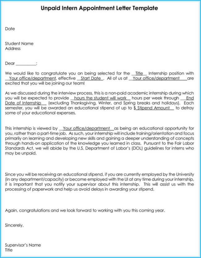 Internship Offer Amp Appointment Letter Template 7 Samples Amp Formats