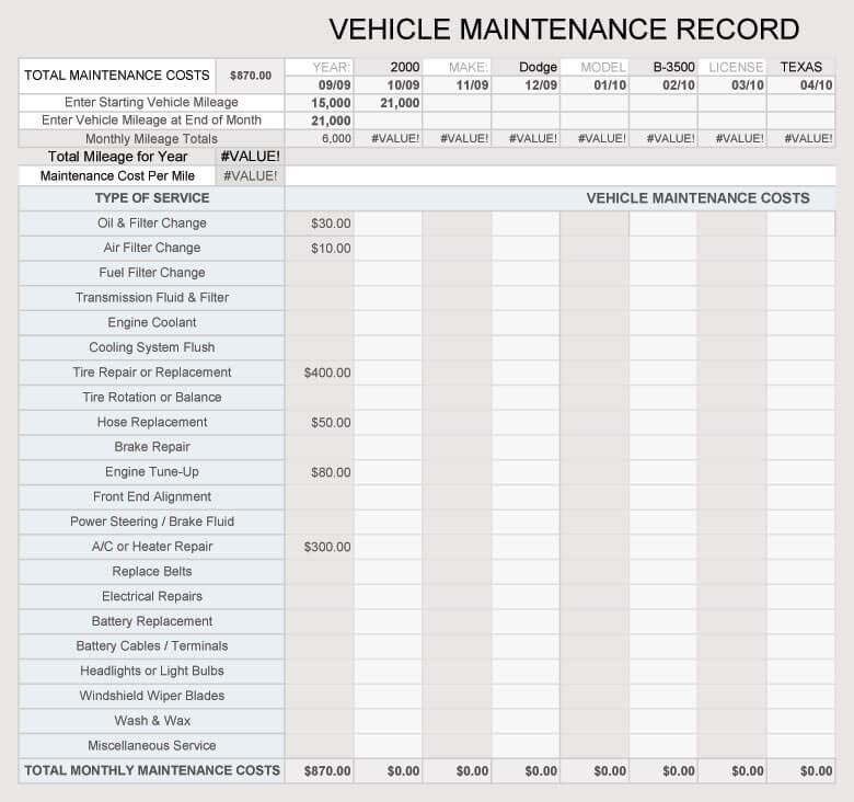 Free Vehicle Maintenance Log Service Sheet Templates For
