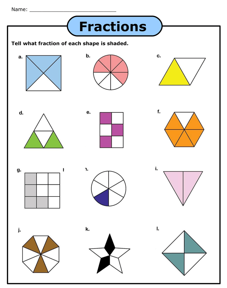 Printable Fraction Worksheets For Practice Grade 3 6