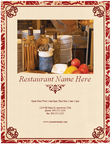 Free Restaurant Menu Templates For Word - FREE DOWNLOAD