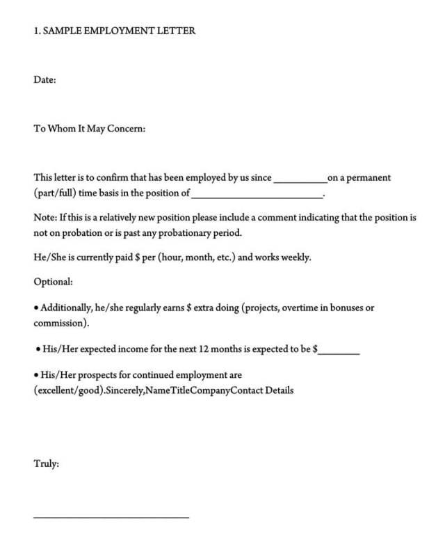 Template Employment Verification Letter