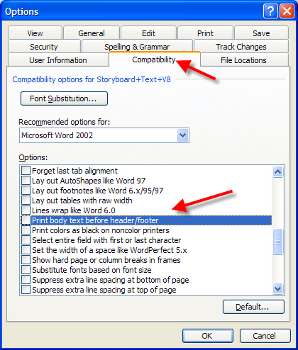 Word 2003 Printing Tip, how to print the Body text before the header and footers