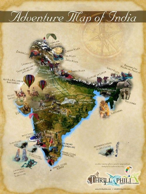Adventure map of India