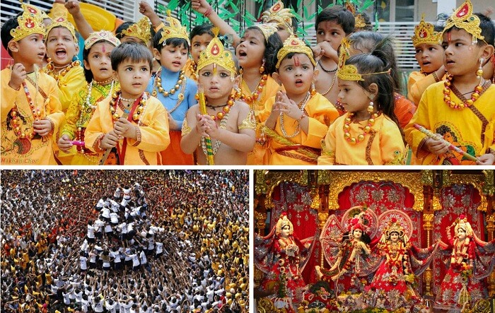 A collage of the Janamashtmi festival