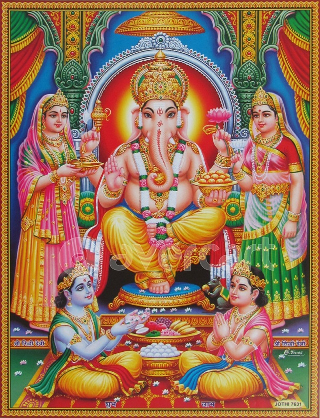 Riddhi and Siddhi with God Ganesha