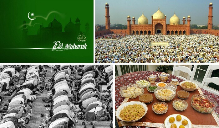 A collage of the festivities of Eid