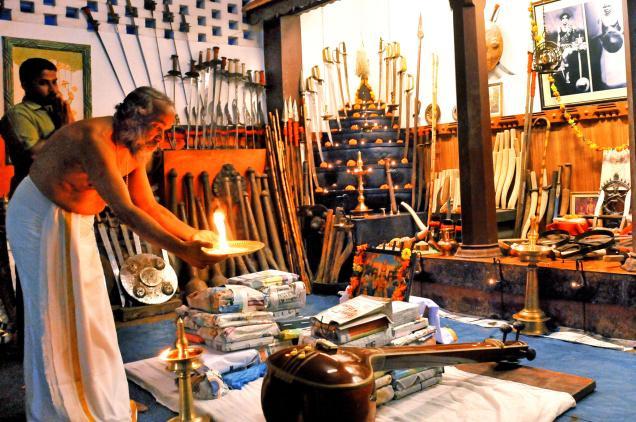 tumpek-landepe28094-invoking-blessings-chief-instructor-of-a-kalari-offering-ayudha-puja-on-monday-in-kozhikodee28094-photo-by-s-ramesh-kurup