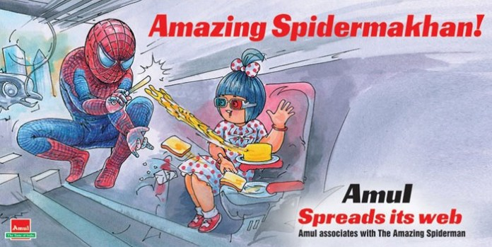 amul ad spiderman - 50 Impressive Bollywood-Inspired Amul Ads!