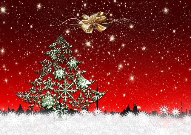 christmas wallpaper with stars and tree - Christmas Star Backgrounds