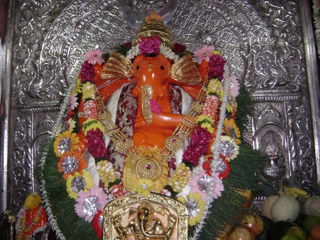 Pretty decoration of Siddhivinayak Ganpati statue