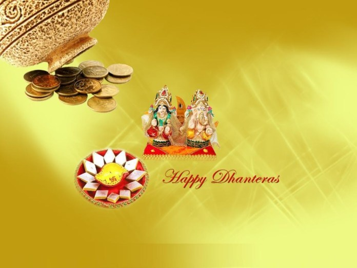 Dhanteras desktop background with Ganesh and Lakshmi