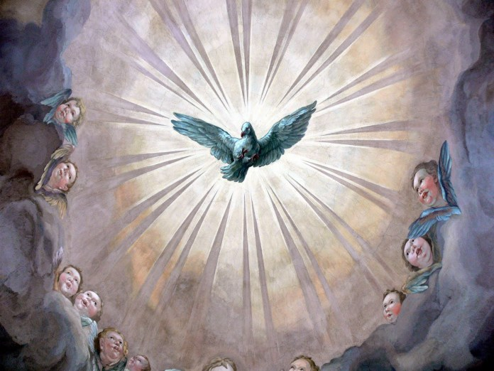Pretty image of Holy spirit with feairies