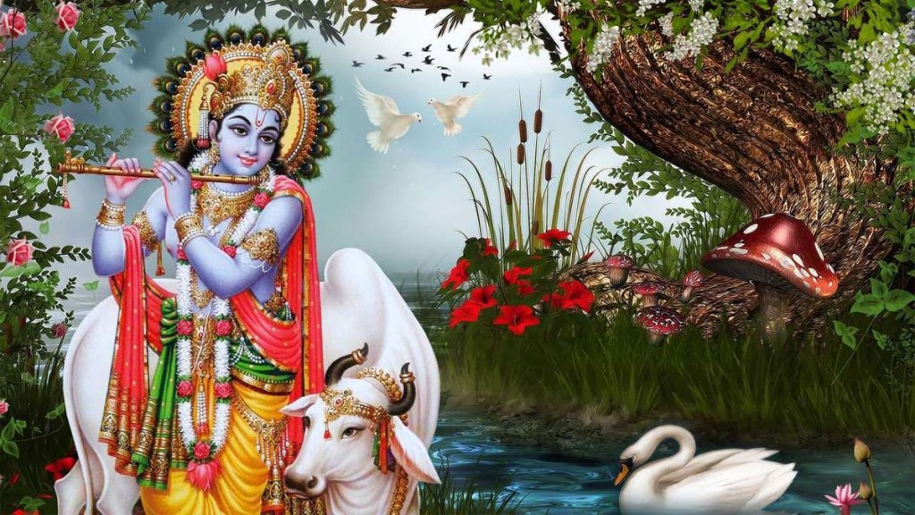 lord krishna playing flute near river