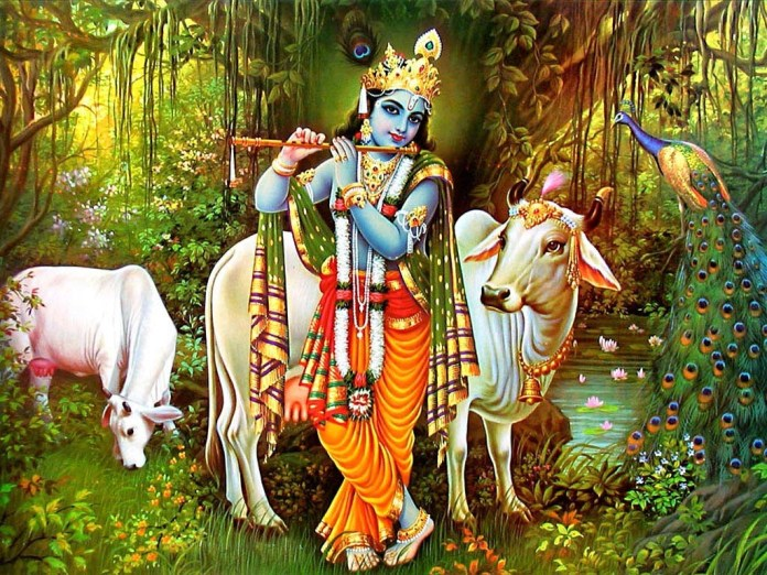 Lord Krishna playing flute with cow near river