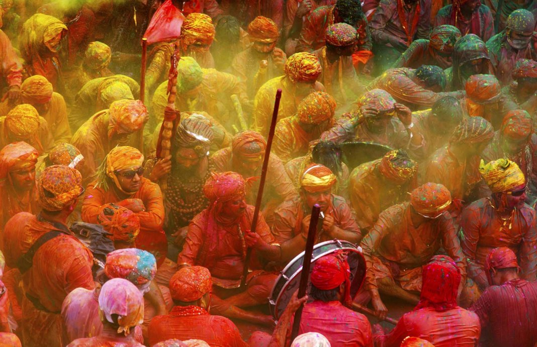 People become colorful in holi festival
