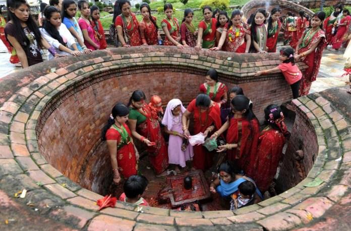 Lovely women celebrating Teej