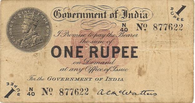 29.One Rupee Note holding the head of George V King Emperor.