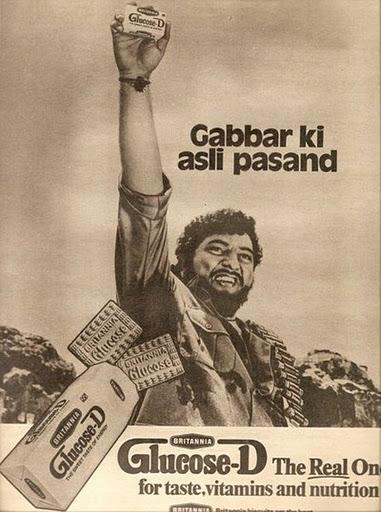 41.Gabbar Singh's on the advertisement of Glucose D.