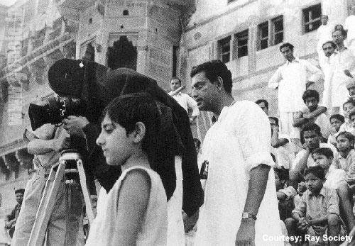 43. Legendary film maker, Satyajit Ray on a shooting location.
