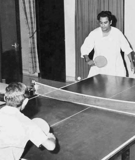 46. Kishore Kumar playing Table Tennis with son Amit.