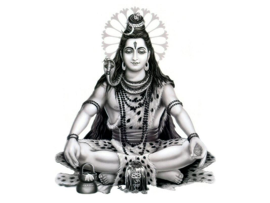 Lord Shiva Sitting Black And White Wallpaper
