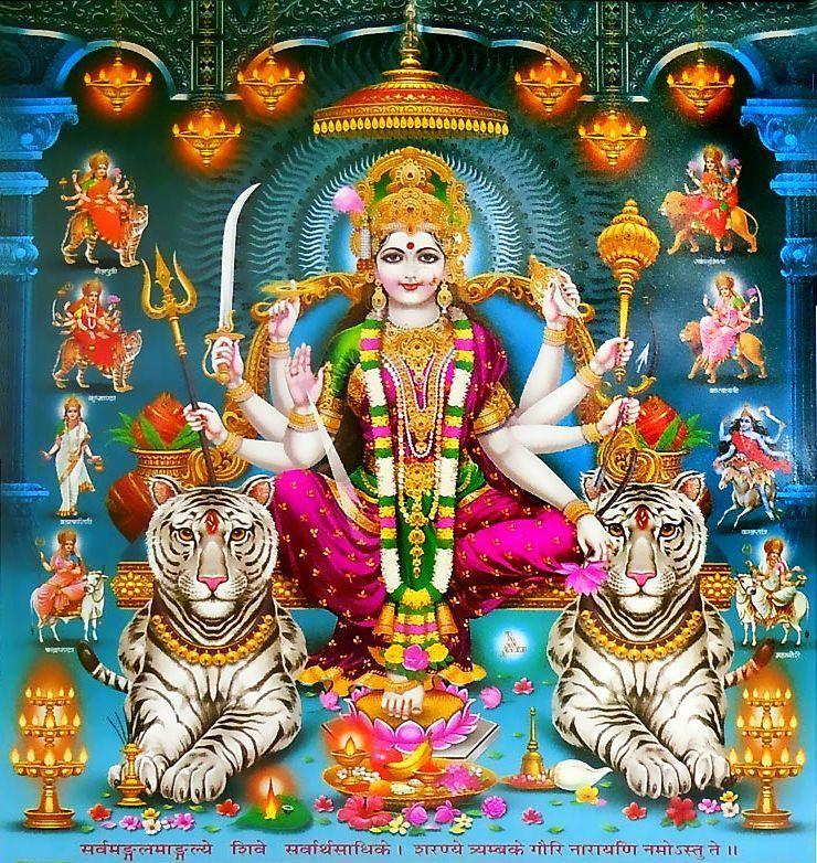 Durga Maa with Two Tiger