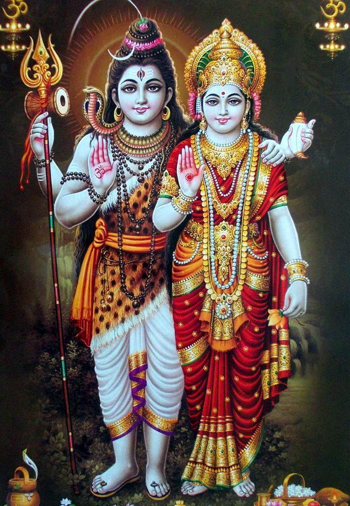 Shiv Parvati Standing HD Wallpaper Full Size
