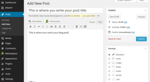 Write a new WP blog post