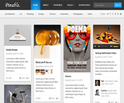 Pinable WordPress Theme 1