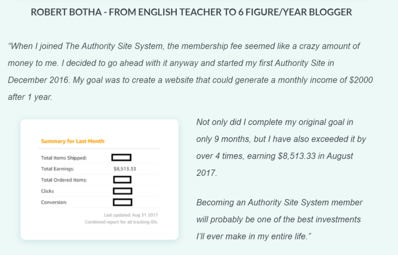 The Authority Site System Testimonial Screenshot
