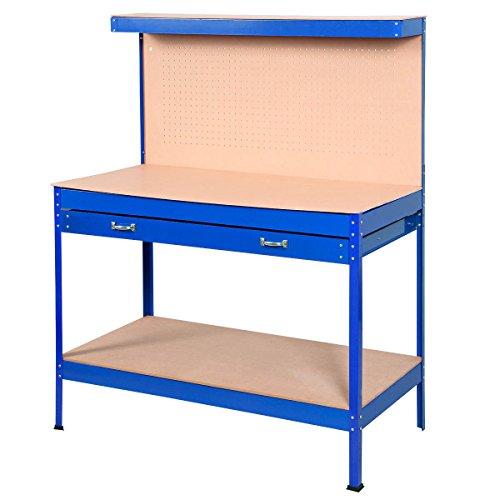 goplus steel workbench tool storage work bench workshop tools table w drawers and peg boardblue
