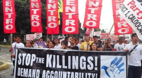 Protest march against martial law, extra-judicial killings in the Philippines