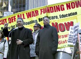NYC march Feb. 17. Larry Holmes,<br>Brenda Stokely, Charles Barron at rally.
