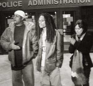 Shareef Aleem, Larry Hales and<br>Melissa Kleinman at Dec. 3<br>news conference.