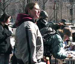 Signing petitions against war funding,<br>Philadelphia, Feb. 17.