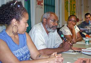 LeiLani Dowell, Abayomi Azikiwe and<br>Monica Moorehead.