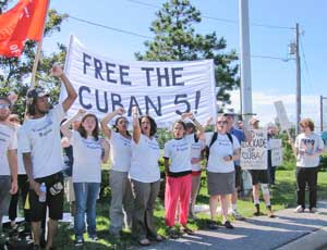 'Free the Cuban Five,' chant the travel ban challengers of the 39th Venceremos (We Shall Overcome) Brigade, the U.S.-Cuba Labor Exchange and the African Awareness Association on July 14 in Buffalo, N.Y.