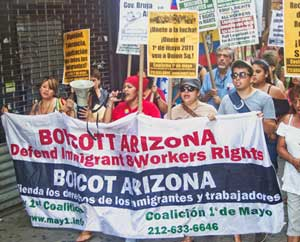 Marching to Citi Field to protest Arizona<br>Diamondback-N.Y. Mets game in Queens, N.Y.