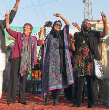 Sara Flounders, Fowzia Siddiqui and Cynthia McKinney.Photos: Altaf Shakoor