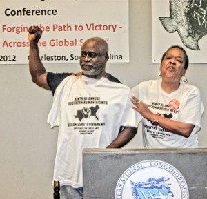 Longshore leader Ken Riley, Jaribu Hill at Southern Human Rights conference.WW photo: Monica Moorehead